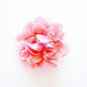 DECORATIVE Pink & Iridescent Faux Flower